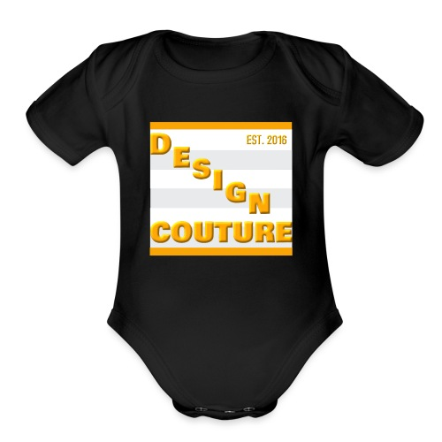 DESIGN COUTURE EST 2016 ORANGE - Organic Short Sleeve Baby Bodysuit