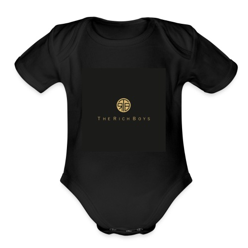 The rich boys embroiderie - Organic Short Sleeve Baby Bodysuit