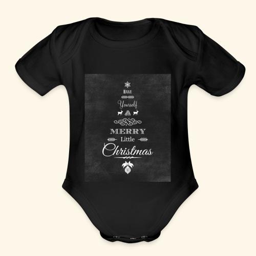 36de4af5f6fc233fcbe6ac1f16d23071 christmas chalkb - Organic Short Sleeve Baby Bodysuit