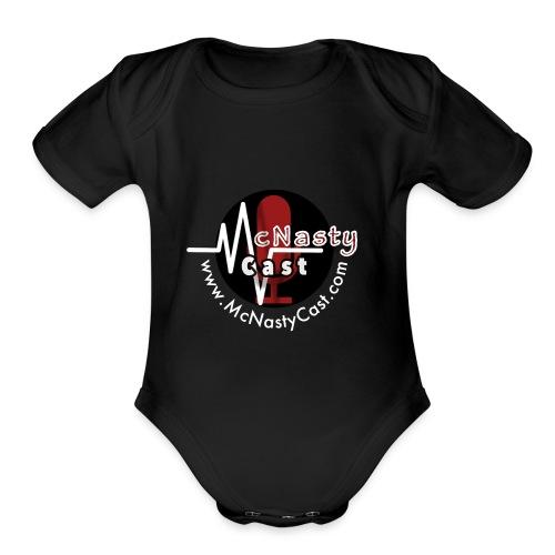 MC Logo with Web Address White - Organic Short Sleeve Baby Bodysuit