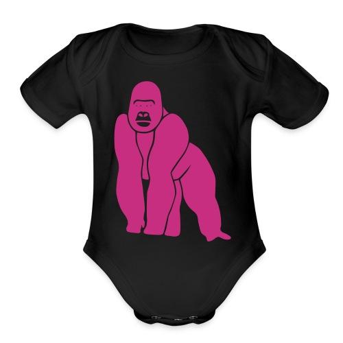 gorilla ape monkey king kong godzilla silver back - Organic Short Sleeve Baby Bodysuit