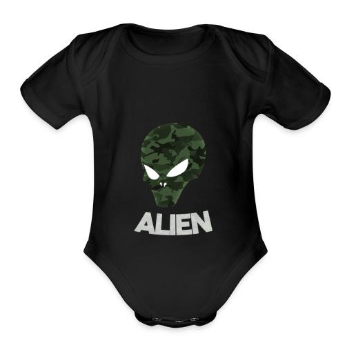 Military Alien - Organic Short Sleeve Baby Bodysuit