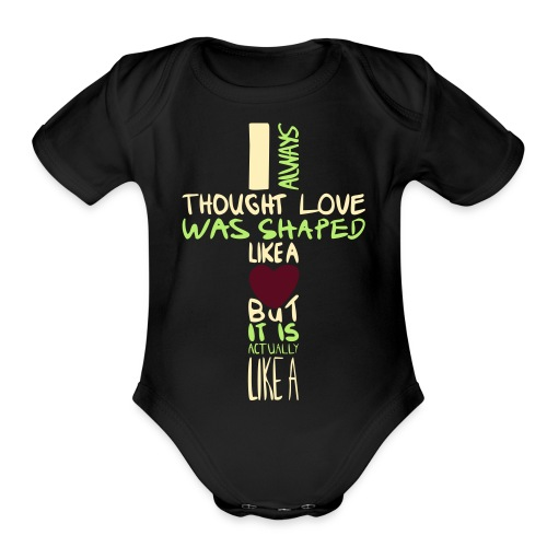 love is shaped like this - Organic Short Sleeve Baby Bodysuit