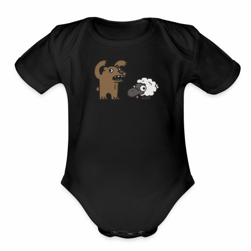 Barr and Sheep funny tshirt - Organic Short Sleeve Baby Bodysuit