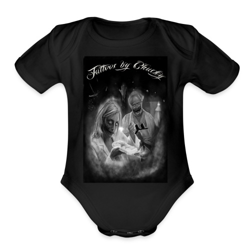 Tattoos by Chucky Holden zombie pathologists - Organic Short Sleeve Baby Bodysuit