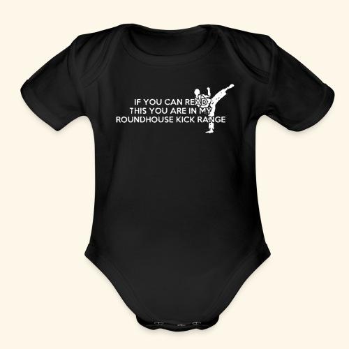 Roundhouse Kick Logo Funny - Organic Short Sleeve Baby Bodysuit