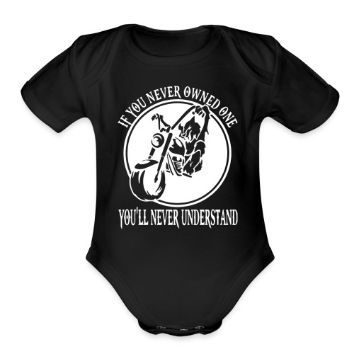 WOLF BIKER FUNNY - Organic Short Sleeve Baby Bodysuit