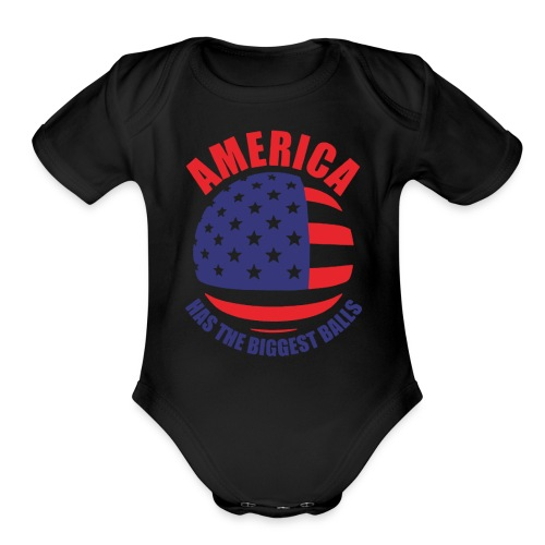 America has the biggest balls Funny Logo - Organic Short Sleeve Baby Bodysuit
