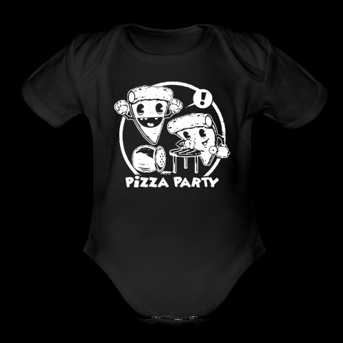 the pizza party funny - Organic Short Sleeve Baby Bodysuit
