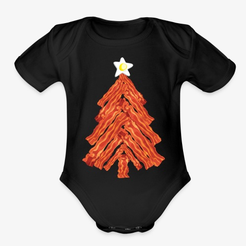 Funny Bacon and Egg Christmas Tree - Organic Short Sleeve Baby Bodysuit