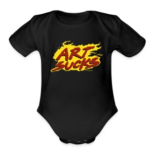 Flaming Art Sucks - Short Sleeve Baby Bodysuit