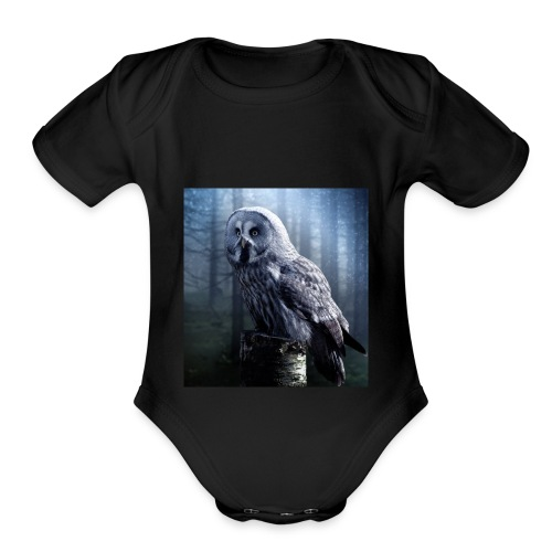 owl - Organic Short Sleeve Baby Bodysuit