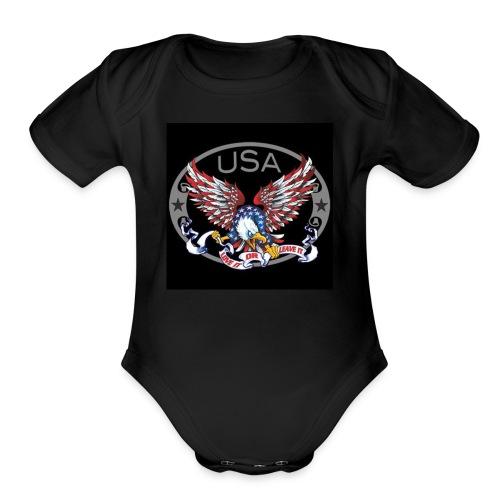Ameowica the Great - Funny patriotic - Organic Short Sleeve Baby Bodysuit