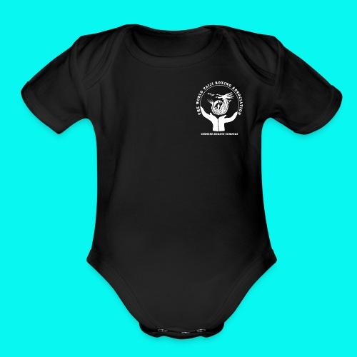 WTBA LOGO White - Organic Short Sleeve Baby Bodysuit
