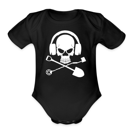Silver Pirate Logo White LARGE TRANS - Organic Short Sleeve Baby Bodysuit