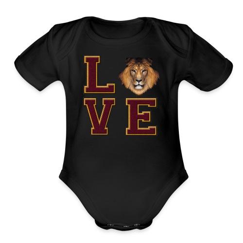 Lion Love Maroon Box - Organic Short Sleeve Baby Bodysuit