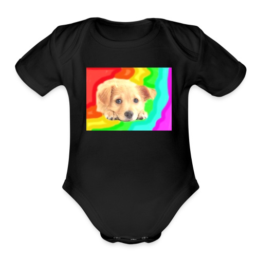 Puppy face - Organic Short Sleeve Baby Bodysuit