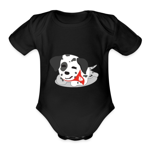 Sparky sleeping - Organic Short Sleeve Baby Bodysuit