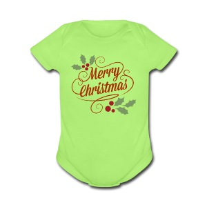 Merry Christmas - Short Sleeve Baby Bodysuit