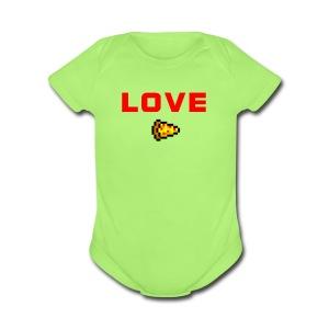 LOVE PIZZA - Short Sleeve Baby Bodysuit