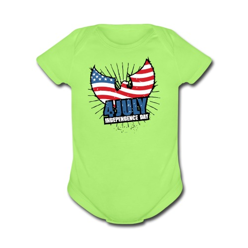 independence day - Organic Short Sleeve Baby Bodysuit