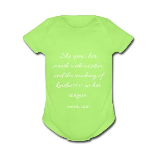 Mom Proverbs 31:26 - Organic Short Sleeve Baby Bodysuit