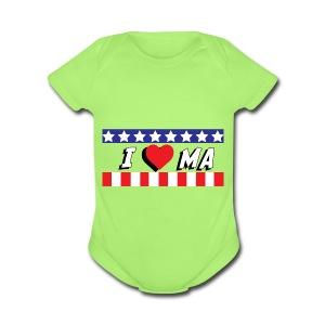 I love Maine, MA - Short Sleeve Baby Bodysuit