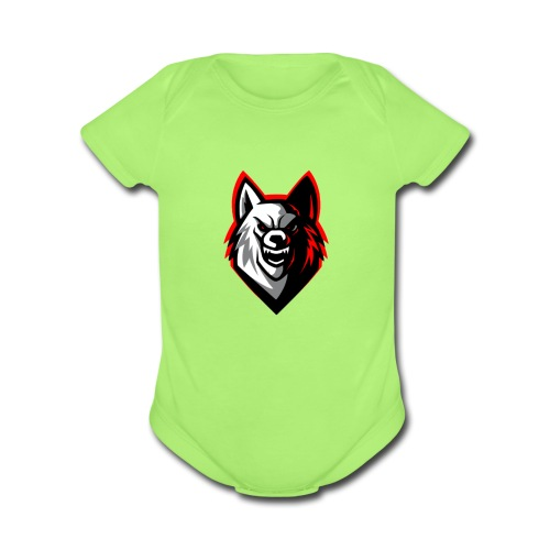 clean wolf logo by akther brothers no watermark - Organic Short Sleeve Baby Bodysuit