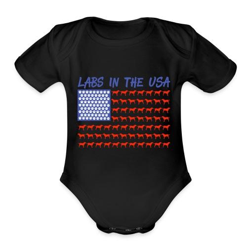 Labs in the USA Flag Labrador Retrievers - Organic Short Sleeve Baby Bodysuit