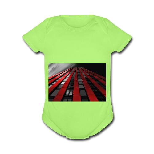 red, black & white - Organic Short Sleeve Baby Bodysuit
