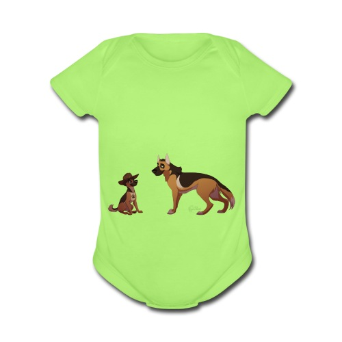 police dog - Organic Short Sleeve Baby Bodysuit