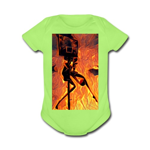Fire Basketball Player - Organic Short Sleeve Baby Bodysuit