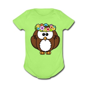 Owl With Flowers On Head T-Shirt - Short Sleeve Baby Bodysuit