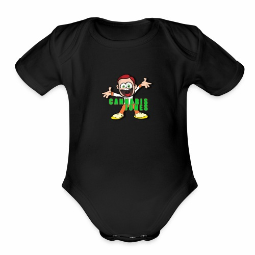 cannabis jones crazy logo - Organic Short Sleeve Baby Bodysuit