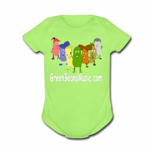 Green Bean's Music Apparel White Logo - Short Sleeve Baby Bodysuit