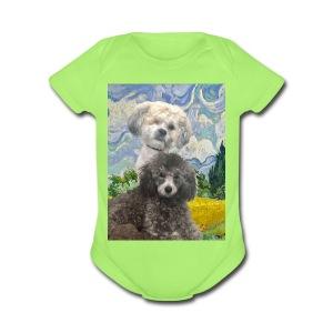 Morty and Wonton - Dogs of Modern Art - Short Sleeve Baby Bodysuit