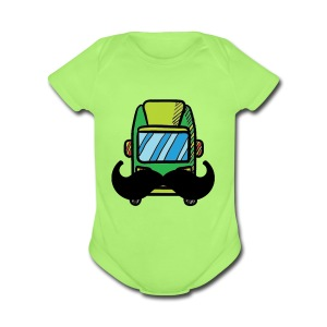 Hip Camper or Van with a Mustache - Short Sleeve Baby Bodysuit