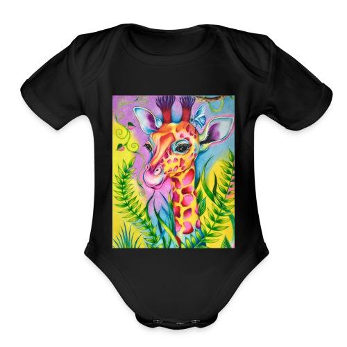 Spring Giraffe Hoodie - Organic Short Sleeve Baby Bodysuit