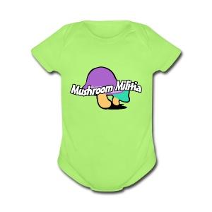 MM text logo - Short Sleeve Baby Bodysuit