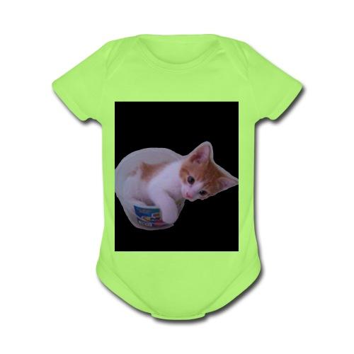 kitten explorer - Organic Short Sleeve Baby Bodysuit