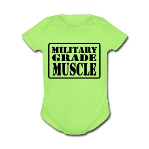 Military Grade Muscle Black - Short Sleeve Baby Bodysuit