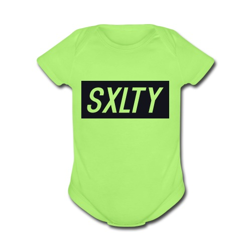 *Dark Blue SXLTY Logo* REGULAR TSHIRT. - Organic Short Sleeve Baby Bodysuit