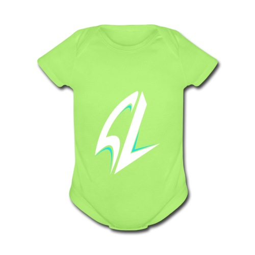 blue - Organic Short Sleeve Baby Bodysuit