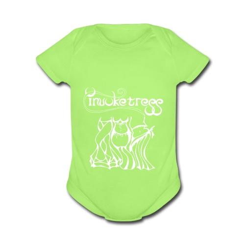 Invoketress Bellies Logo in White - Organic Short Sleeve Baby Bodysuit