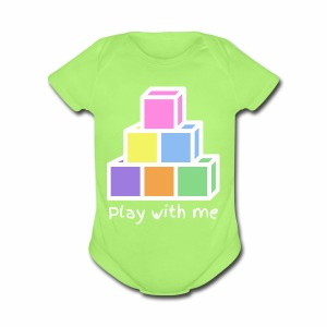 Play With Me (version white) - Short Sleeve Baby Bodysuit
