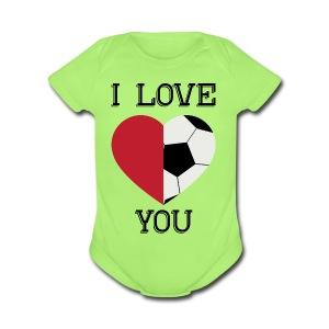 i love you soccer - Short Sleeve Baby Bodysuit