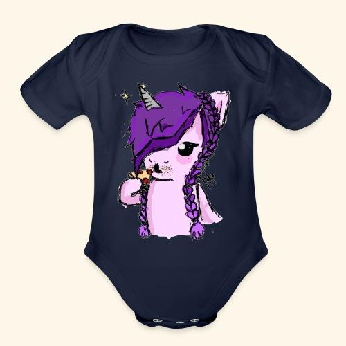 Unicorn Eating Pizza - Organic Short Sleeve Baby Bodysuit