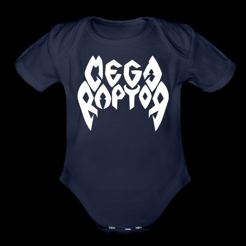 Megaraptor Logo White - Organic Short Sleeve Baby Bodysuit