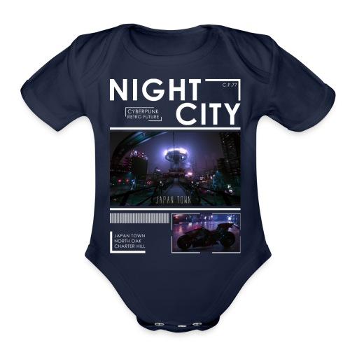 Night City Japan Town - Organic Short Sleeve Baby Bodysuit