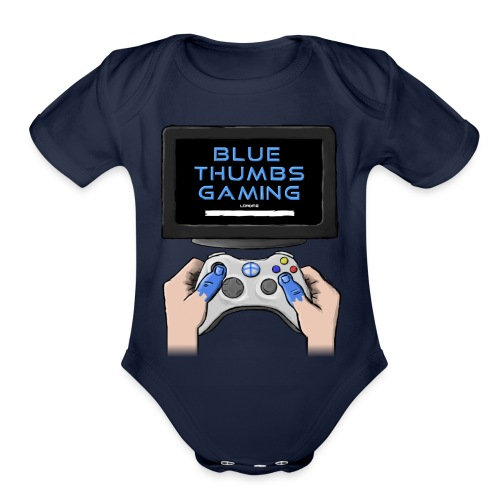 Blue Thumbs Gaming: Gamepad Logo - Organic Short Sleeve Baby Bodysuit